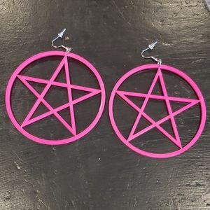 Pink Pentagram Hoops